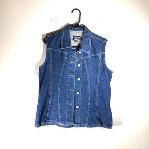 French Dressing Denim Vest Stretch Dark Wash